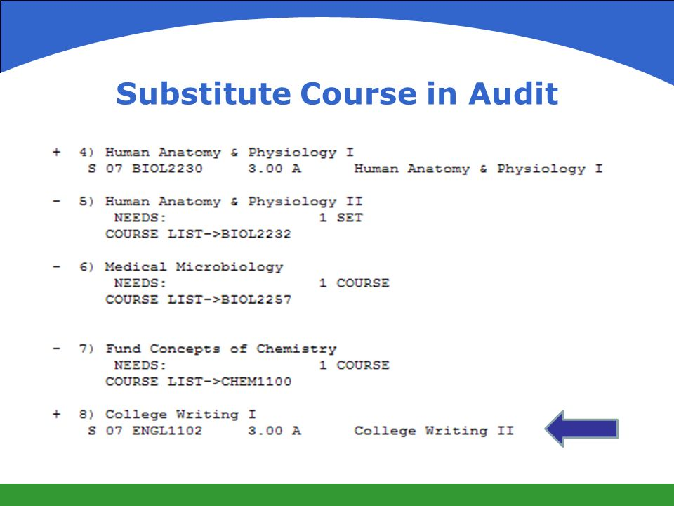 Substitute Course in Audit