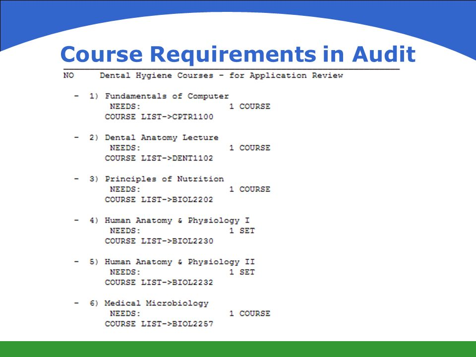 Course Requirements in Audit