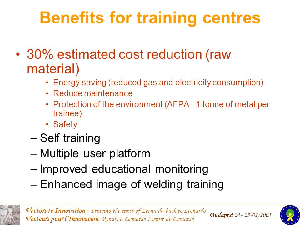 Vectors to Innovation : Bringing the spirit of Leonardo back to Leonardo Vecteurs pour lInnovation : Rendre à Leonardo lesprit de Leonardo Budapest /02/ % estimated cost reduction (raw material) Energy saving (reduced gas and electricity consumption) Reduce maintenance Protection of the environment (AFPA : 1 tonne of metal per trainee) Safety –Self training –Multiple user platform –Improved educational monitoring –Enhanced image of welding training Benefits for training centres