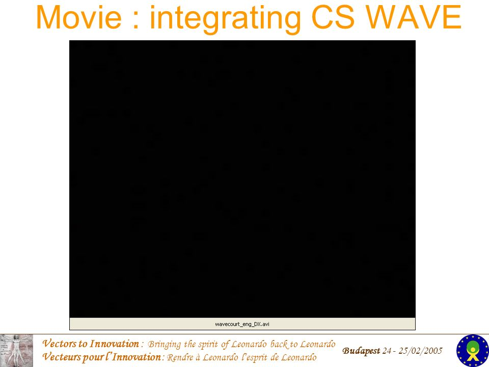 Vectors to Innovation : Bringing the spirit of Leonardo back to Leonardo Vecteurs pour lInnovation : Rendre à Leonardo lesprit de Leonardo Budapest /02/2005 Movie : integrating CS WAVE