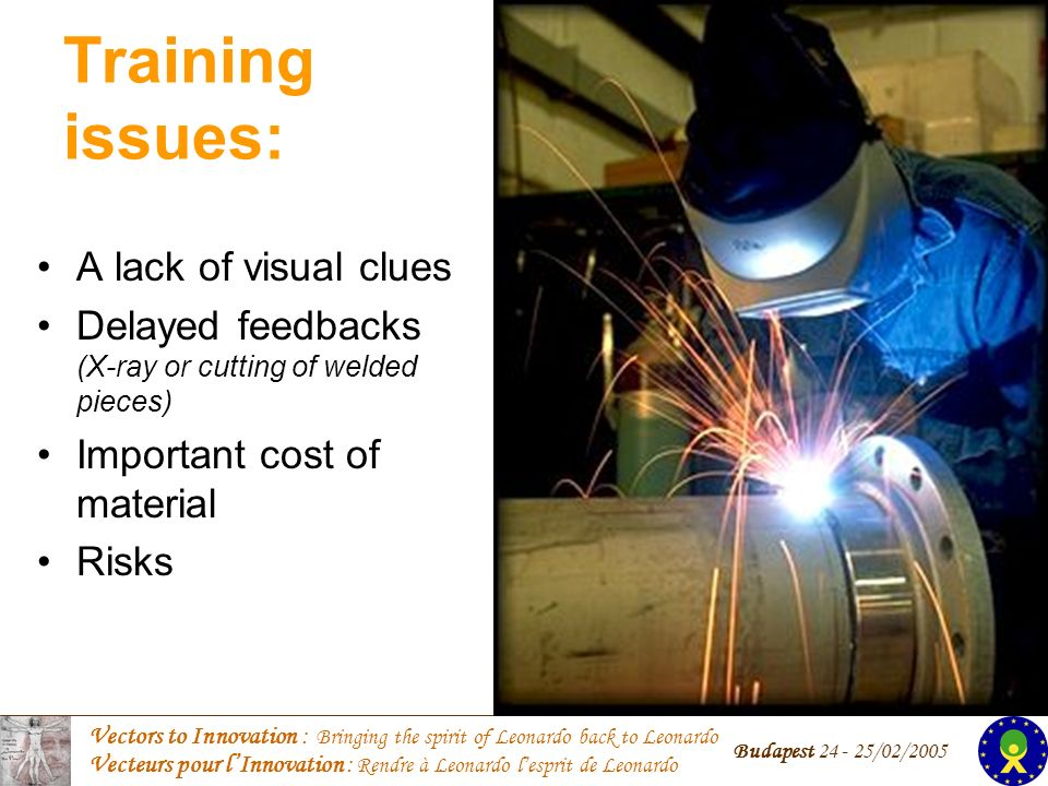 Vectors to Innovation : Bringing the spirit of Leonardo back to Leonardo Vecteurs pour lInnovation : Rendre à Leonardo lesprit de Leonardo Budapest /02/2005 Training issues: A lack of visual clues Delayed feedbacks (X-ray or cutting of welded pieces) Important cost of material Risks
