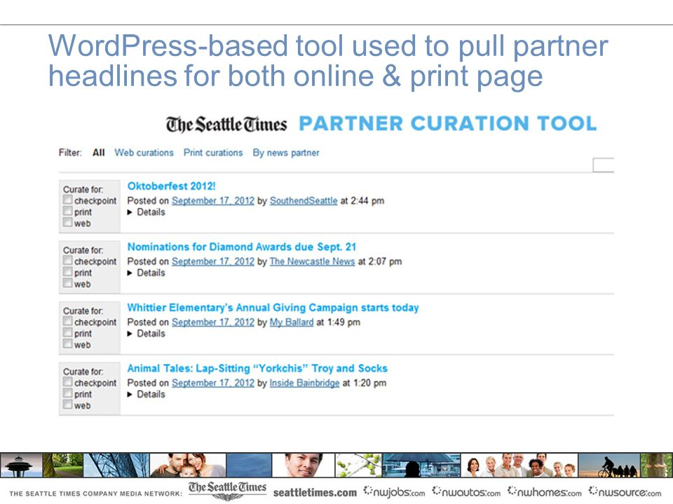 WordPress-based tool used to pull partner headlines for both online & print page