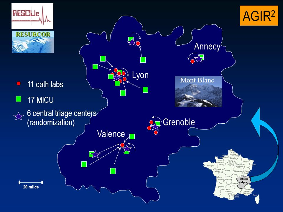 AGIR 2 RESURCOR 11 cath labs 17 MICU 20 miles 6 central triage centers (randomization) Lyon Annecy Grenoble Mont Blanc Valence