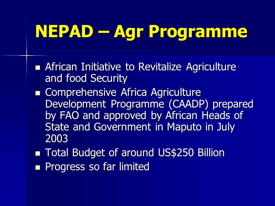 NEPAD – Agr Programme African Initiative to Revitalize Agriculture and food Security African Initiative to Revitalize Agriculture and food Security Comprehensive Africa Agriculture Development Programme (CAADP) prepared by FAO and approved by African Heads of State and Government in Maputo in July 2003 Comprehensive Africa Agriculture Development Programme (CAADP) prepared by FAO and approved by African Heads of State and Government in Maputo in July 2003 Total Budget of around US$250 Billion Total Budget of around US$250 Billion Progress so far limited Progress so far limited