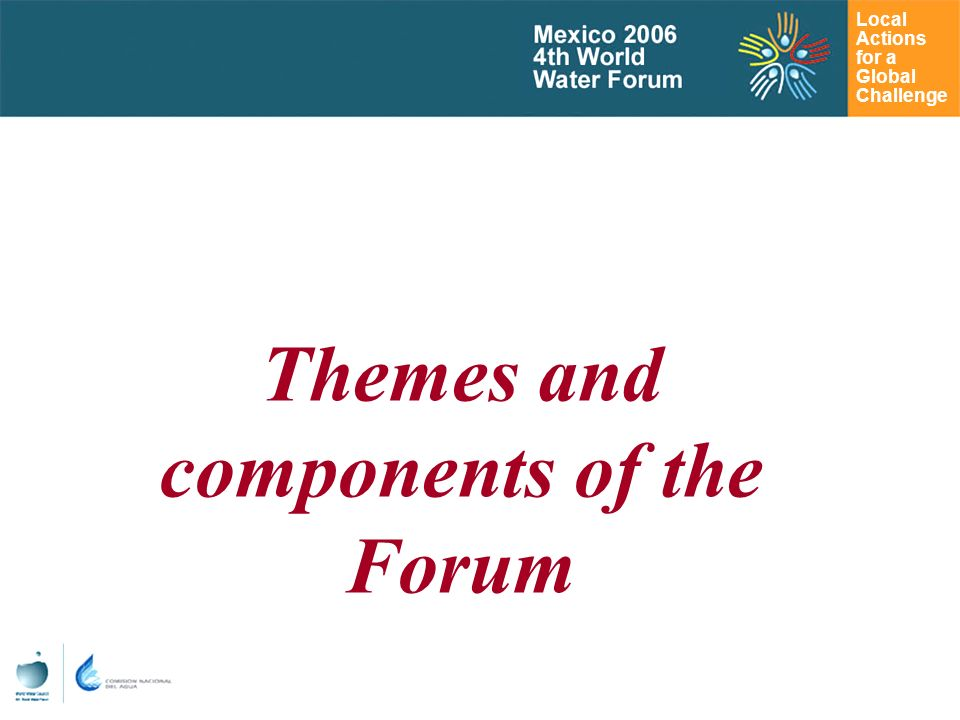 Local Actions for a Global Challenge Themes and components of the Forum