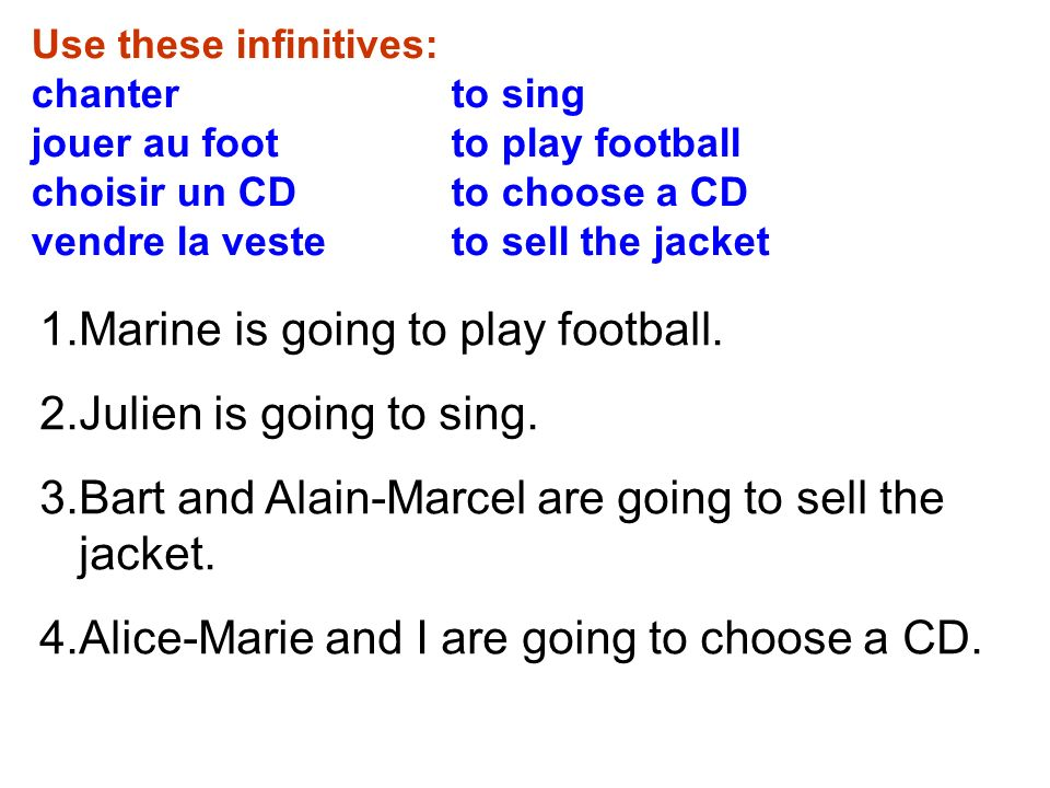 Use these infinitives: chanter to sing jouer au foot to play football choisir un CD to choose a CD vendre la veste to sell the jacket 1.Marine is going to play football.
