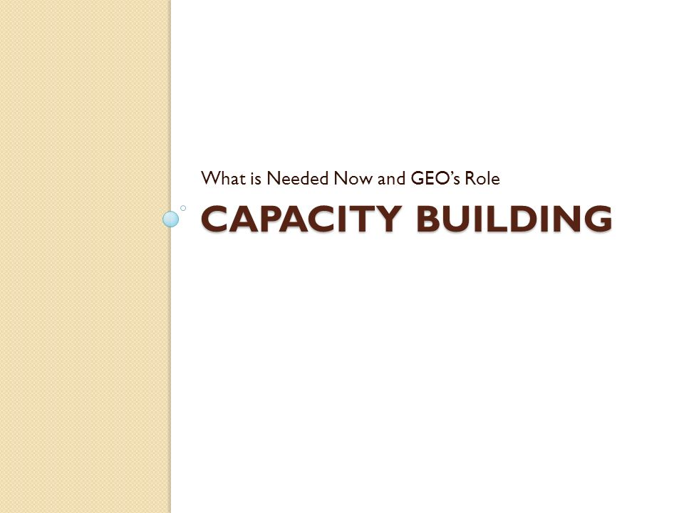 CAPACITY BUILDING What is Needed Now and GEOs Role