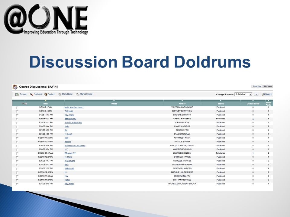 Discussion Board Doldrums