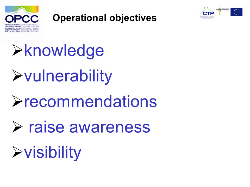 knowledge vulnerability recommendations raise awareness visibility Operational objectives
