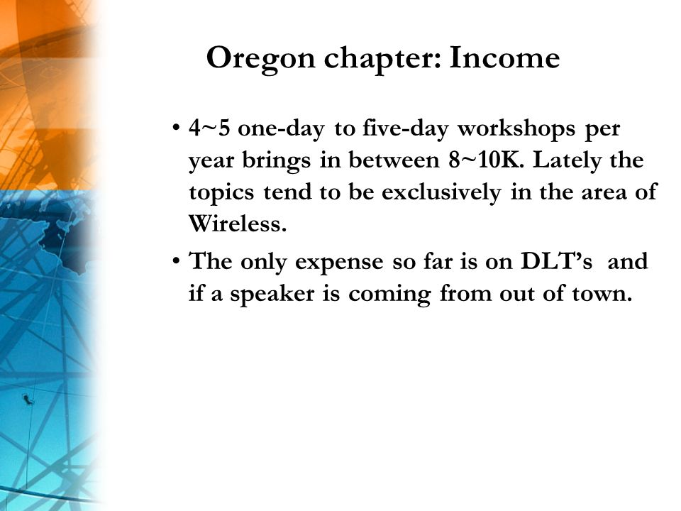 Oregon chapter: Income 4~5 one-day to five-day workshops per year brings in between 8~10K.