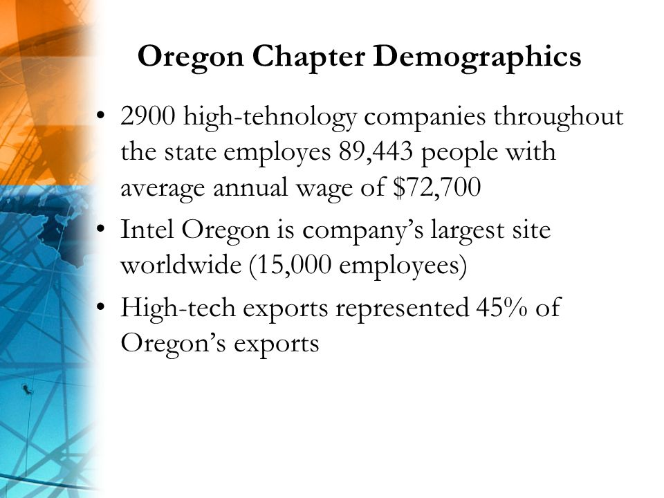 Oregon Chapter Demographics 2900 high-tehnology companies throughout the state employes 89,443 people with average annual wage of $72,700 Intel Oregon is companys largest site worldwide (15,000 employees) High-tech exports represented 45% of Oregons exports