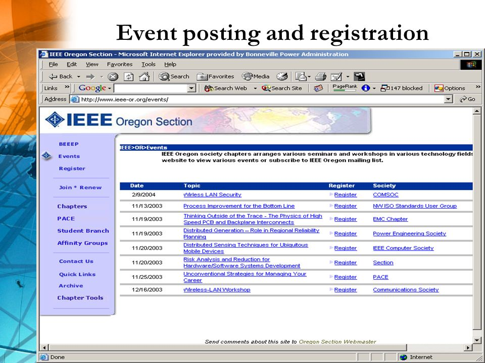 Event posting and registration