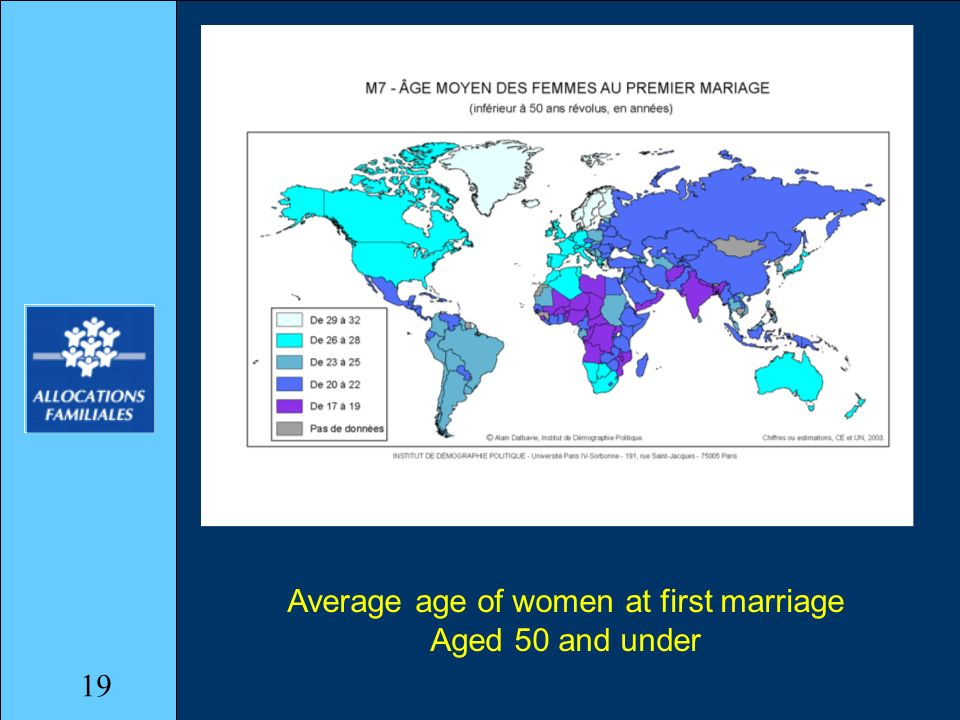 Average age of women at first marriage Aged 50 and under 19