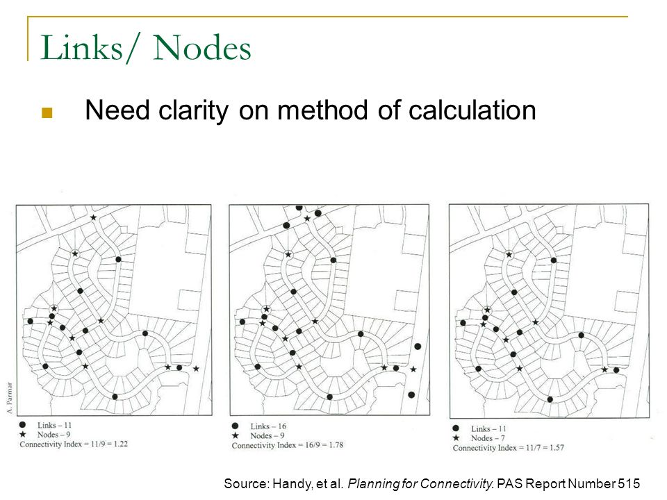 Links/ Nodes Need clarity on method of calculation Source: Handy, et al.