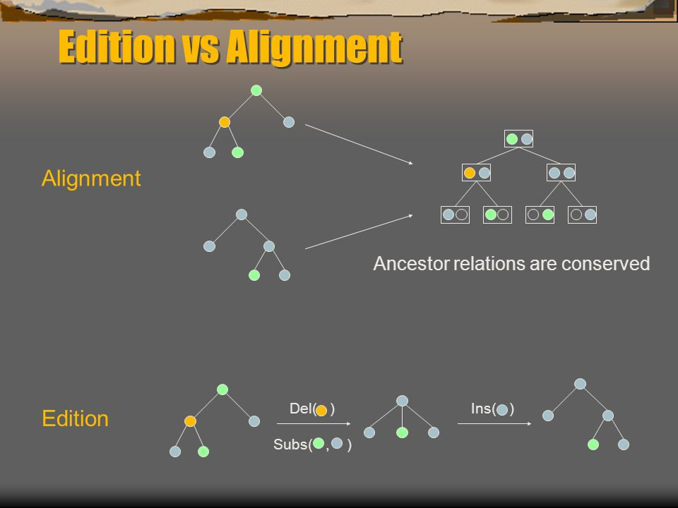 Edition vs Alignment Alignment Edition Ins( )Del( ) Subs(, ) Ancestor relations are conserved