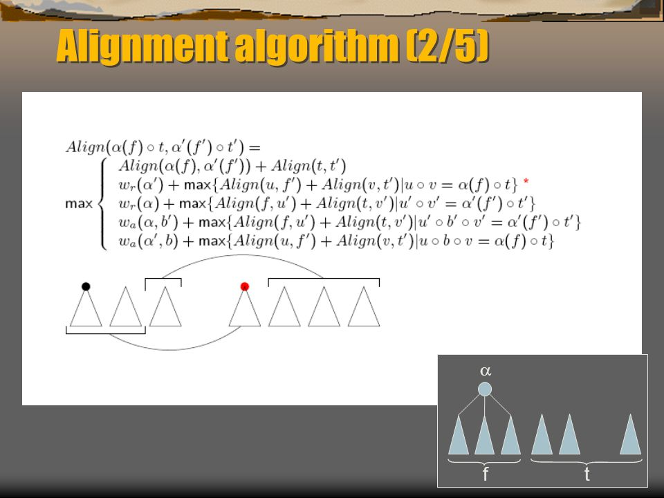 Alignment algorithm (2/5) f t