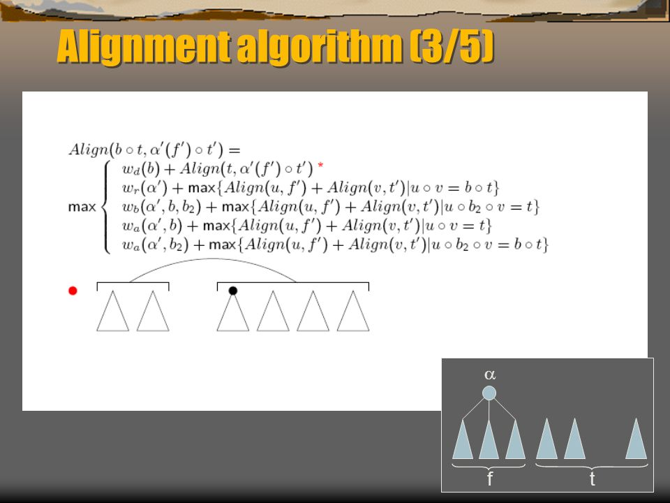Alignment algorithm (3/5) f t