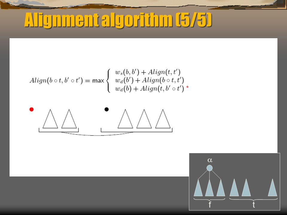 Alignment algorithm (5/5) f t
