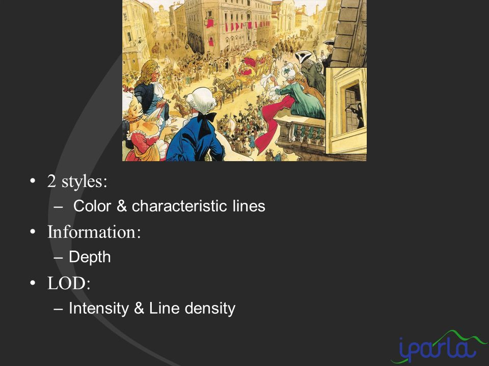 2 styles: – Color & characteristic lines Information: –Depth LOD: –Intensity & Line density