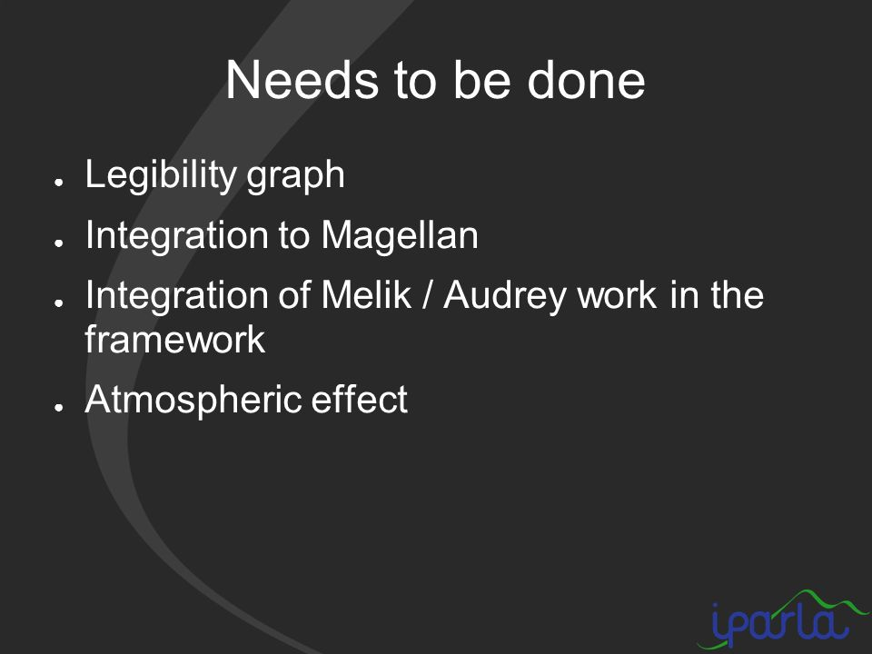 Needs to be done Legibility graph Integration to Magellan Integration of Melik / Audrey work in the framework Atmospheric effect