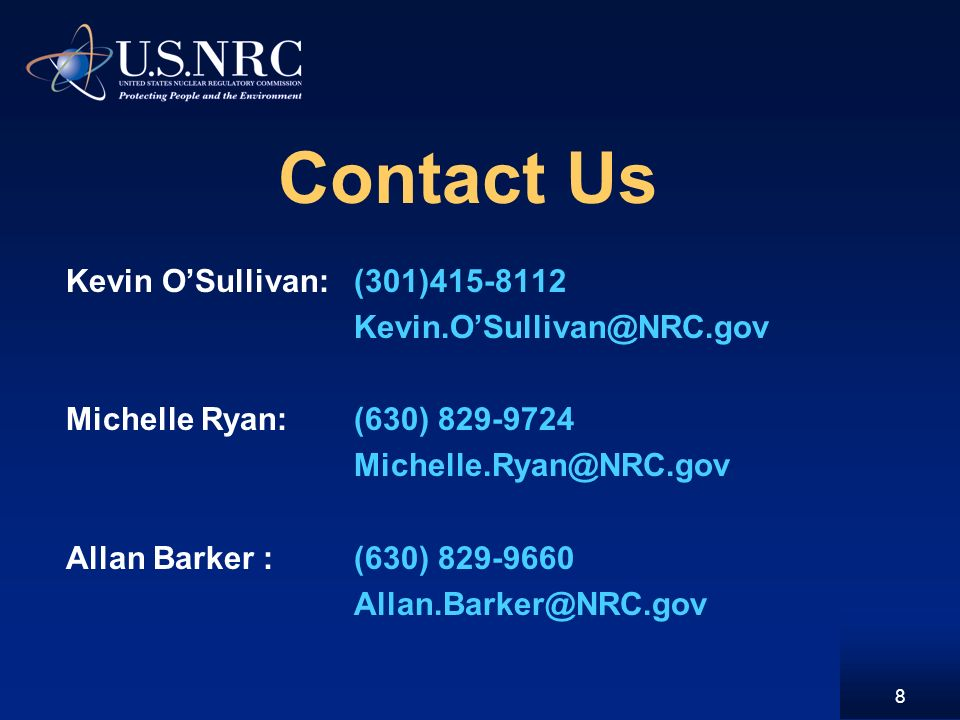 Contact Us Kevin OSullivan:(301) Michelle Ryan:(630) Allan Barker :(630)