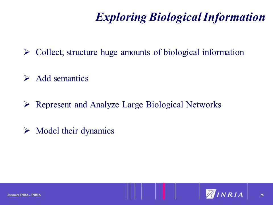 Journées INRA - INRIA26 Exploring Biological Information Collect, structure huge amounts of biological information Add semantics Represent and Analyze Large Biological Networks Model their dynamics