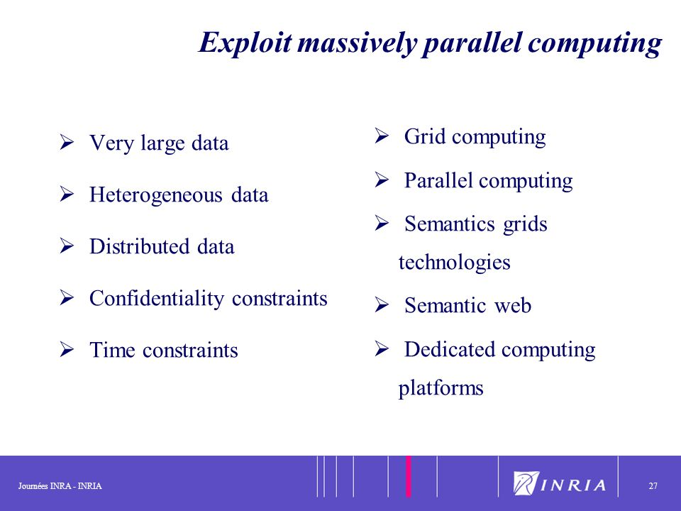 Journées INRA - INRIA27 Exploit massively parallel computing Very large data Heterogeneous data Distributed data Confidentiality constraints Time constraints Grid computing Parallel computing Semantics grids technologies Semantic web Dedicated computing platforms