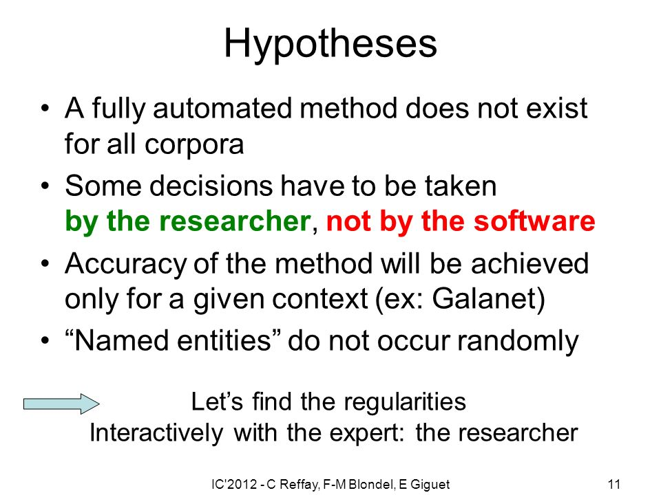 IC 2012 - C Reffay, F-M Blondel, E Giguet11 Hypotheses A fully automated method does not exist for all corpora Some decisions have to be taken by the researcher, not by the software Accuracy of the method will be achieved only for a given context (ex: Galanet) Named entities do not occur randomly Lets find the regularities Interactively with the expert: the researcher