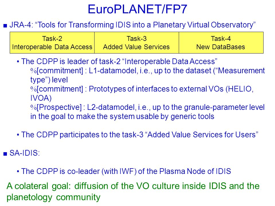 EuroPLANET/FP7 JRA-4: Tools for Transforming IDIS into a Planetary Virtual Observatory The CDPP is leader of task-2 Interoperable Data Access [commitment] : L1-datamodel, i.e., up to the dataset (Measurement type) level [commitment] : Prototypes of interfaces to external VOs (HELIO, IVOA) [Prospective] : L2-datamodel, i.e., up to the granule-parameter level in the goal to make the system usable by generic tools The CDPP participates to the task-3 Added Value Services for Users SA-IDIS: The CDPP is co-leader (with IWF) of the Plasma Node of IDIS A colateral goal: diffusion of the VO culture inside IDIS and the planetology community Task-2 Interoperable Data Access Task-3 Added Value Services Task-4 New DataBases