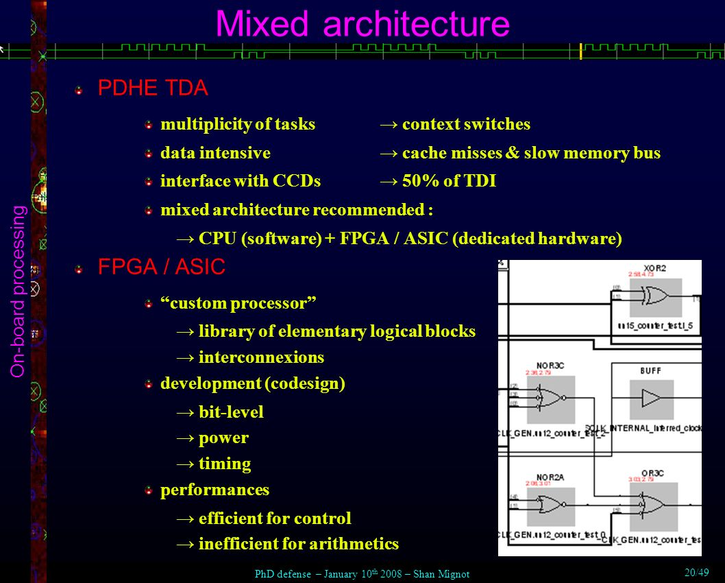 Mixed architecture On-board processing PDHE TDA multiplicity of tasks context switches data intensive cache misses & slow memory bus interface with CCDs 50% of TDI mixed architecture recommended : CPU (software) + FPGA / ASIC (dedicated hardware) FPGA / ASIC custom processor library of elementary logical blocks interconnexions development (codesign) bit-level power timing performances efficient for control inefficient for arithmetics PhD defense – January 10 th 2008 – Shan Mignot 20/49