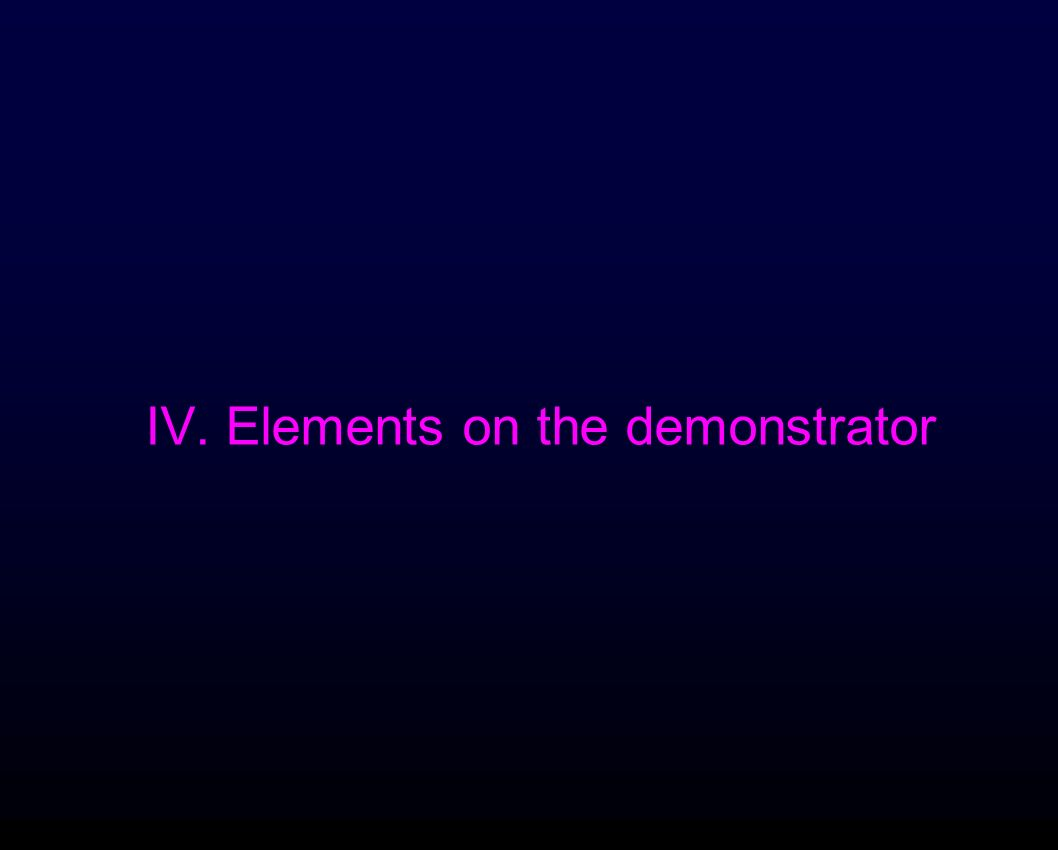 IV. Elements on the demonstrator