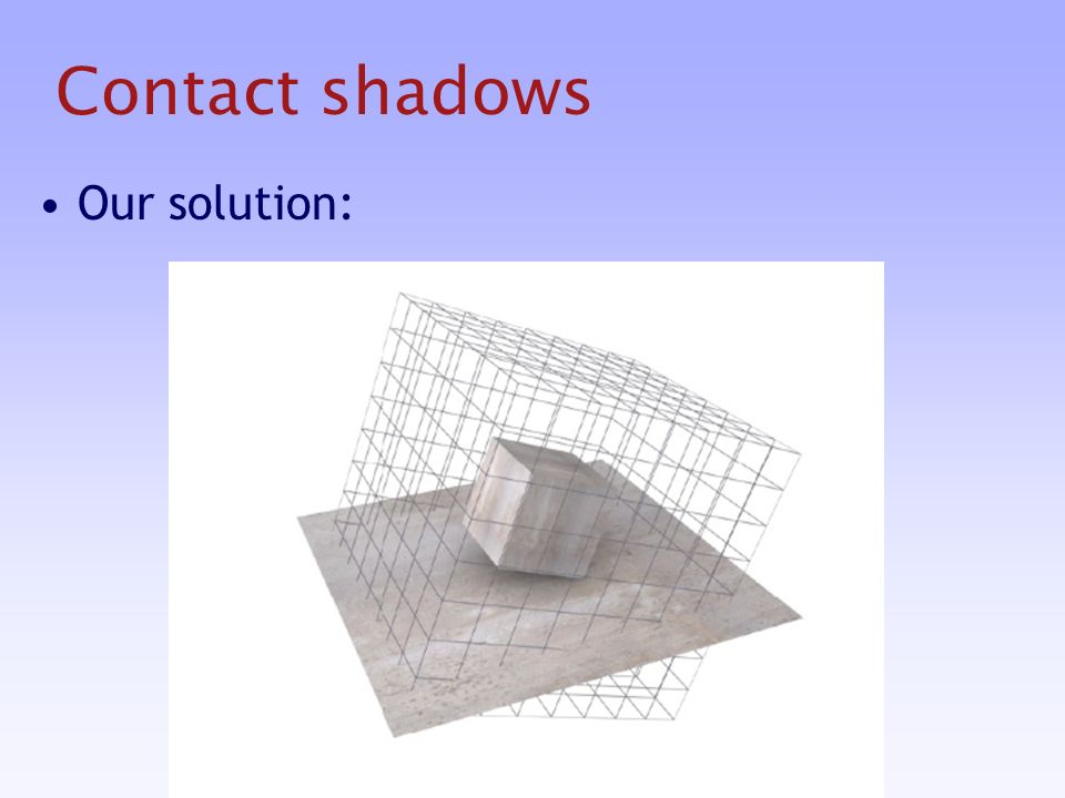 Contact shadows Our solution: