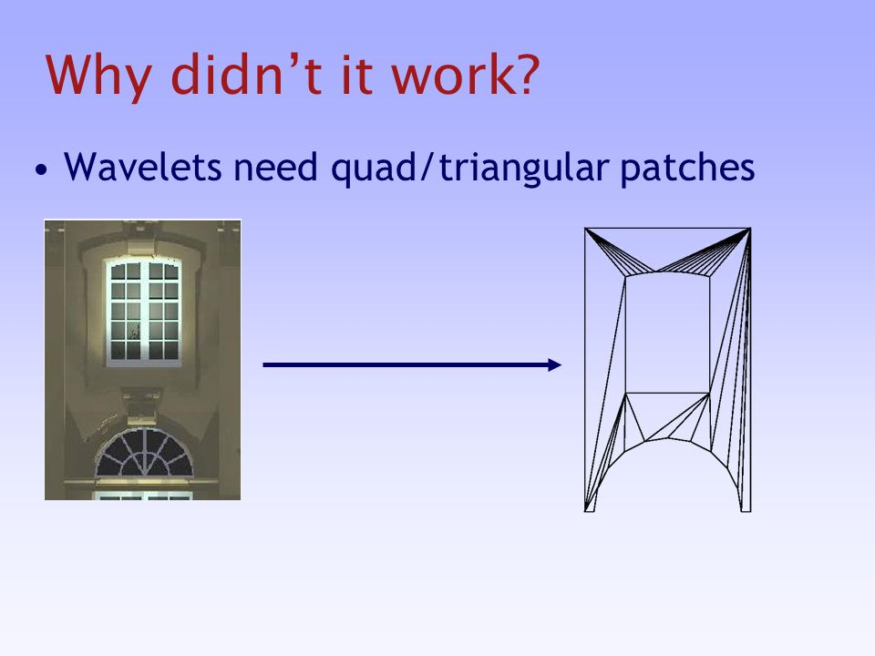 Wavelets need quad/triangular patches