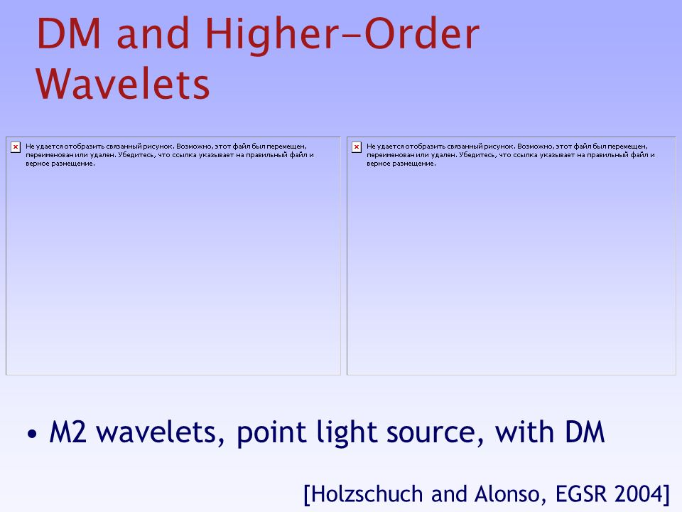 DM and Higher-Order Wavelets M2 wavelets, point light source, with DM [Holzschuch and Alonso, EGSR 2004]