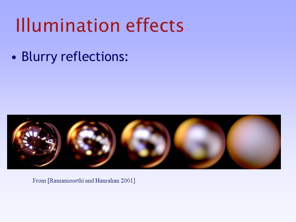 Illumination effects Blurry reflections: From [Ramamoorthi and Hanrahan 2001]
