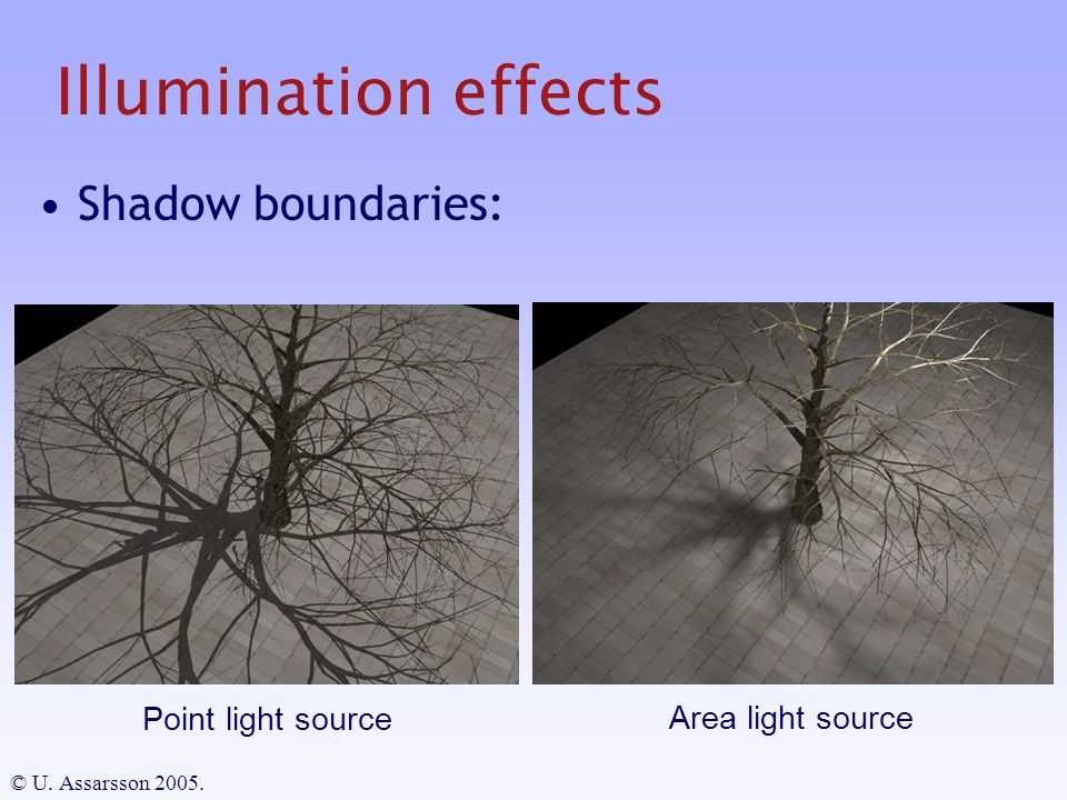 Illumination effects Shadow boundaries: © U. Assarsson Point light source Area light source