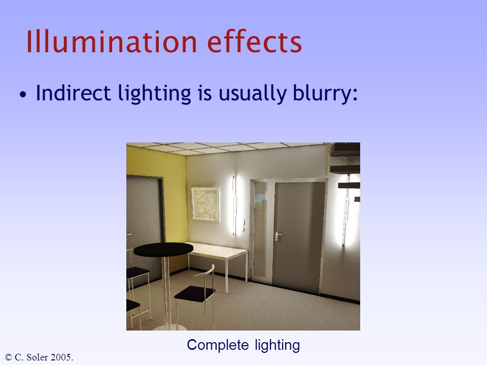 Illumination effects Indirect lighting is usually blurry: Complete lighting © C. Soler 2005.