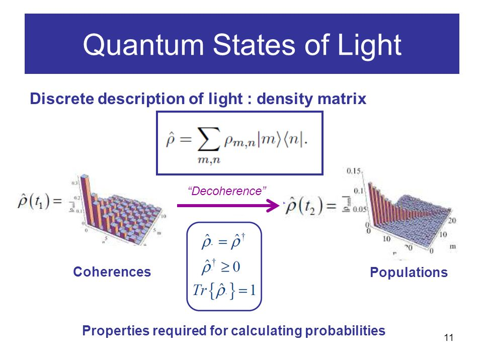 11 Quantum States of Light Discrete description of light : density matrix Populations Coherences Decoherence Properties required for calculating probabilities