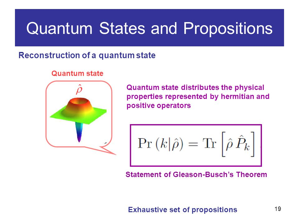 19 Reconstruction of a quantum state Quantum States and Propositions Quantum state Exhaustive set of propositions Quantum state distributes the physical properties represented by hermitian and positive operators Statement of Gleason-Buschs Theorem