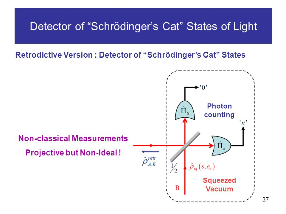 37 Detector of Schrödingers Cat States of Light Retrodictive Version : Detector of Schrödingers Cat States Non-classical Measurements Projective but Non-Ideal .