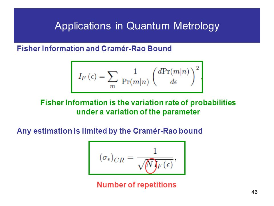 46 Applications in Quantum Metrology Fisher Information and Cramér-Rao Bound Any estimation is limited by the Cramér-Rao bound Fisher Information is the variation rate of probabilities under a variation of the parameter Number of repetitions
