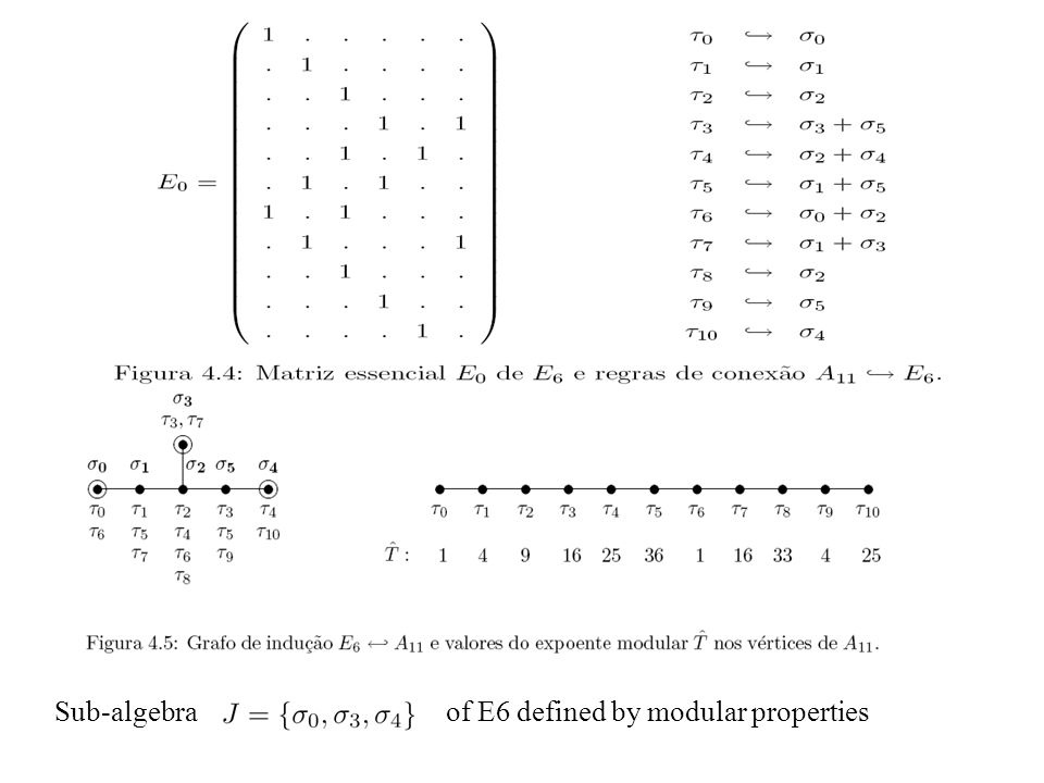 Sub-algebraof E6 defined by modular properties