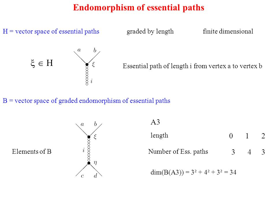 Endomorphism of essential paths H = vector space of essential paths graded by length finite dimensional H Essential path of length i from vertex a to vertex b B = vector space of graded endomorphism of essential paths Elements of B A3 length 012 Number of Ess.