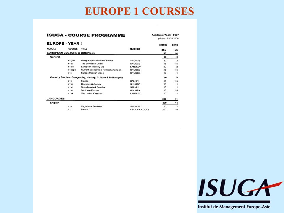 EUROPE 1 COURSES