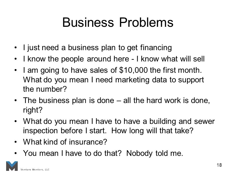18 Business Problems I just need a business plan to get financing I know the people around here - I know what will sell I am going to have sales of $10,000 the first month.