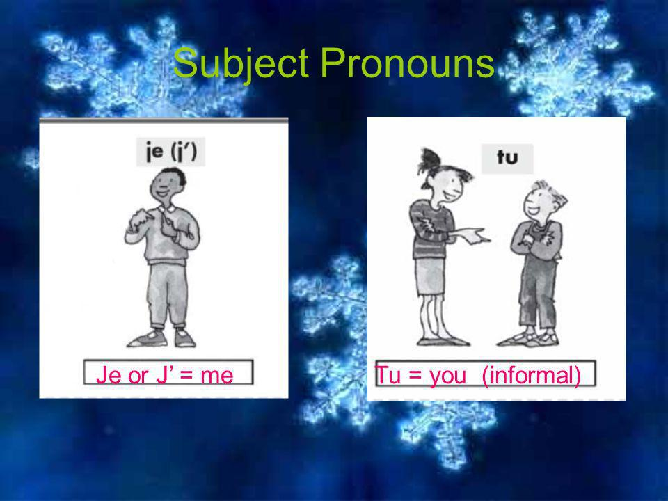 Subject Pronouns Je or J = meTu = you (informal)