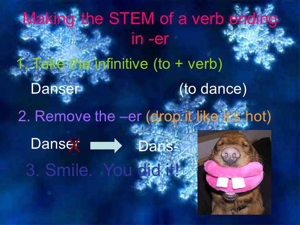 Making the STEM of a verb ending in -er 1. Take the infinitive (to + verb) 2.