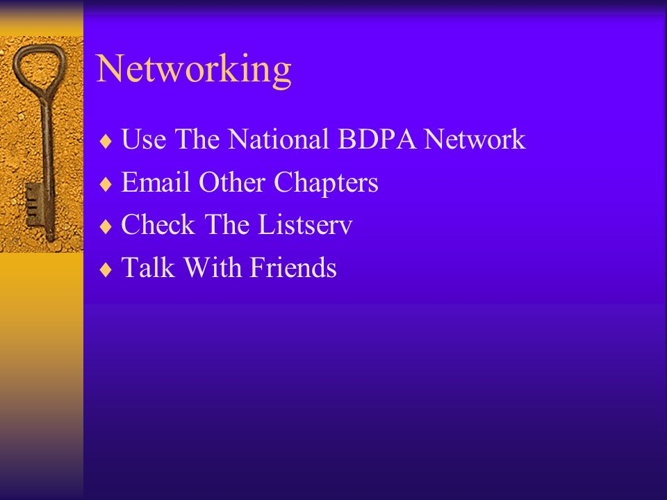 Networking Use The National BDPA Network  Other Chapters Check The Listserv Talk With Friends