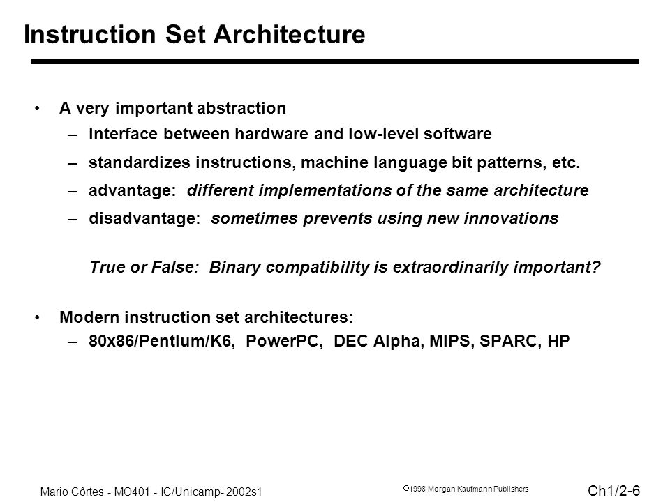 Mario Côrtes - MO401 - IC/Unicamp- 2002s1 Ch1/ Morgan Kaufmann Publishers Instruction Set Architecture A very important abstraction –interface between hardware and low-level software –standardizes instructions, machine language bit patterns, etc.