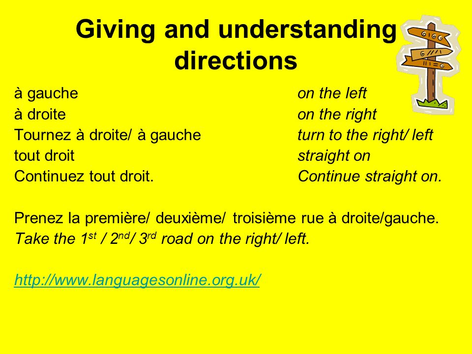Giving and understanding directions à gaucheon the left à droiteon the right Tournez à droite/ à gaucheturn to the right/ left tout droitstraight on Continuez tout droit.Continue straight on.
